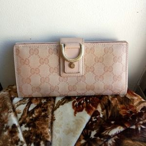 💯Auth Gucci D-ring long wallet blush GG